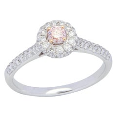 18 Karat White and Rose Gold Pink Diamond Ring