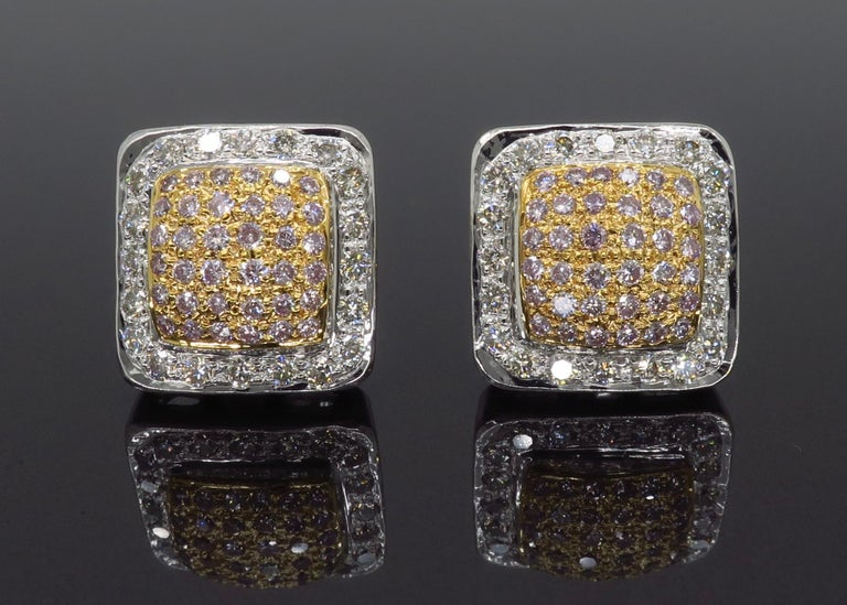 Pink Diamond Square Stud Earrings In Excellent Condition For Sale In Webster, NY