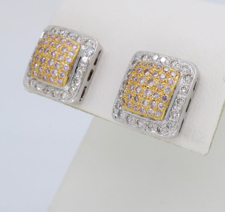 Pink Diamond Square Stud Earrings For Sale 4