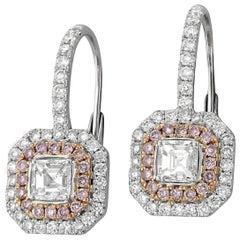Pink Diamond White Diamond Rose and White Gold Drop Earrings