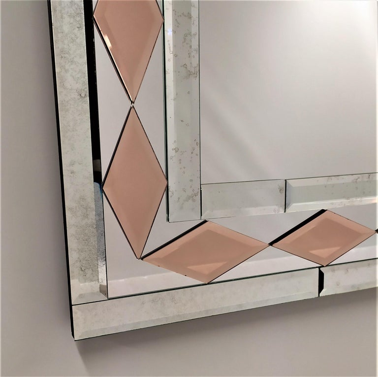 Other Pink Diamonds, Murano Glass Contemporary Mirror, by Fratelli Tosi For Sale