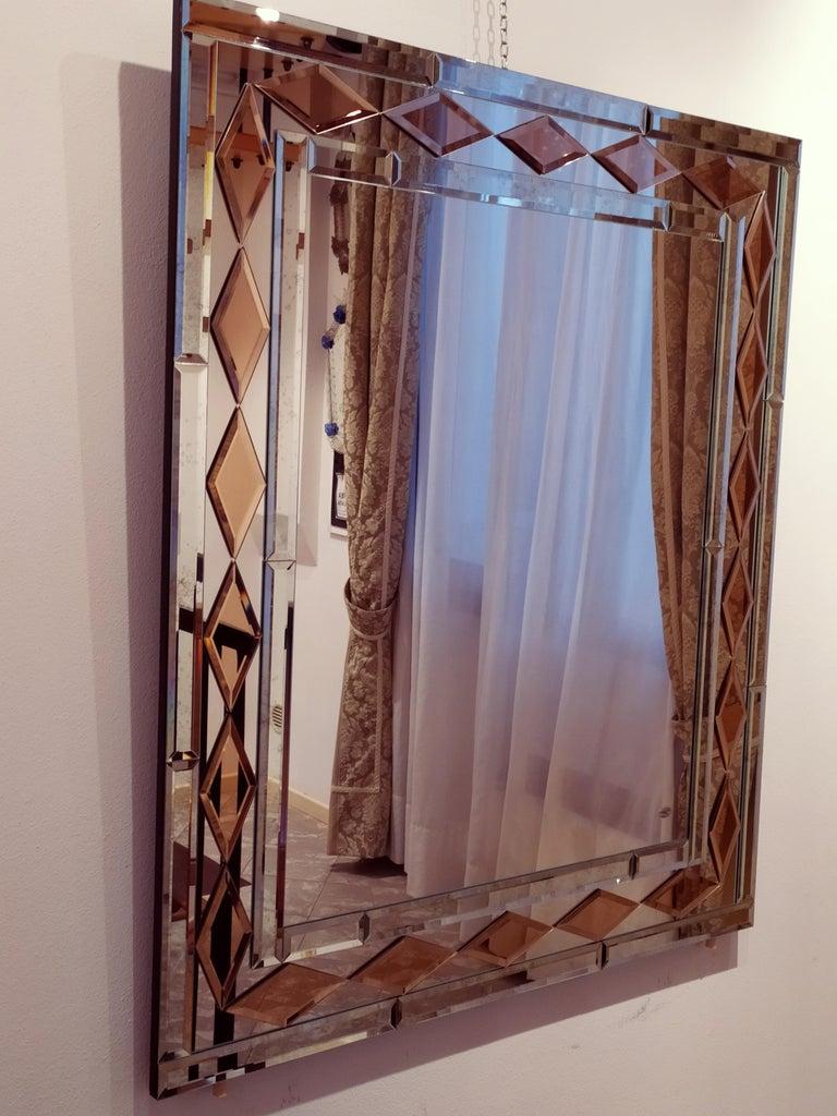 Italian Pink Diamonds, Murano Glass Contemporary Mirror, by Fratelli Tosi For Sale
