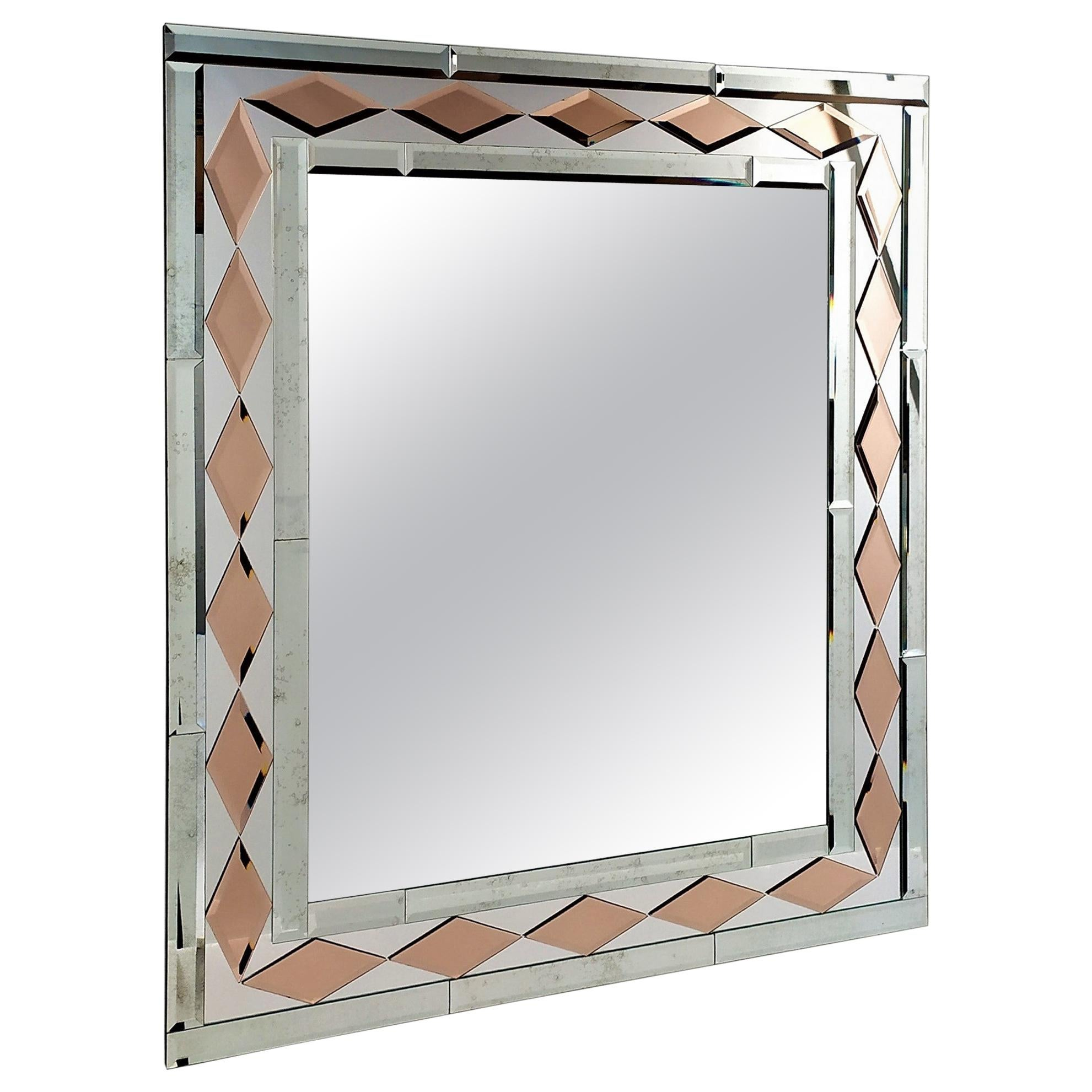 Pink Diamonds, Murano Glass Contemporary Mirror, by Fratelli Tosi