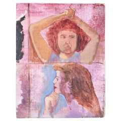 Pink Double Portrait Painting of a Girl and Woman