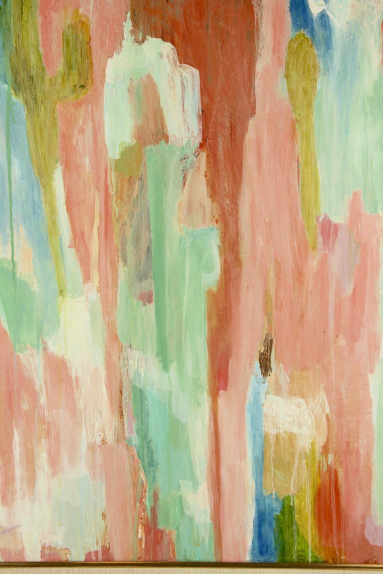 #5-3017 Pink Dripping ,contemporary pastel-tones abstract acrylic on canvas ,signed lower left by Lorenzi set in a gilt -wood frame. Imge size 30 H x 24 W.