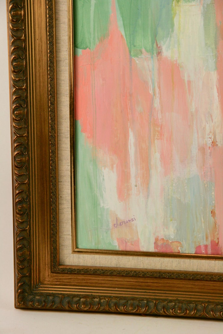 Pink Dripping Abstract Painting In Good Condition For Sale In Douglas Manor, NY