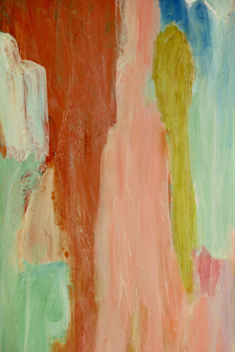 Contemporary Pink Dripping Abstract Painting For Sale