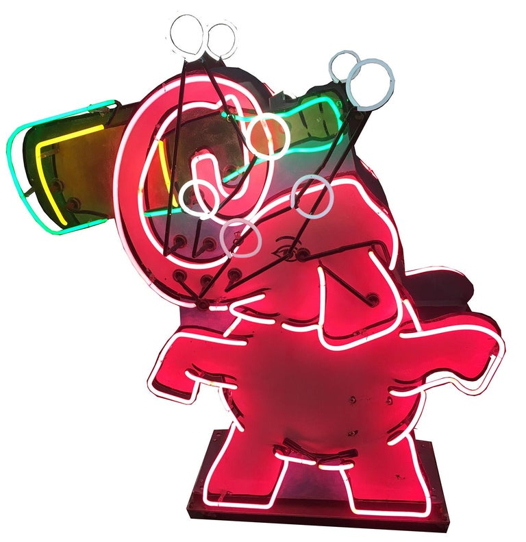 Pink Elephant Neon Sign, 1950s Liquor Store, Animated For Sale