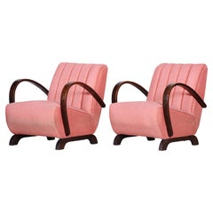Pink Fabric Armchair Made in Czechia, 1930s, Original Condition, Art Deco Style