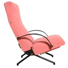 Pink fabric Osvaldo Borsani, P40 Lounge Chair for Tecno, Italy