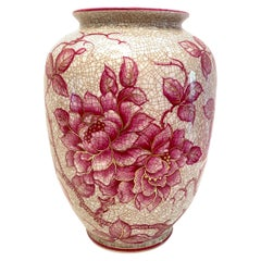 Pink Floral Ceramic Vase by Schaubach, Germany, 1930s