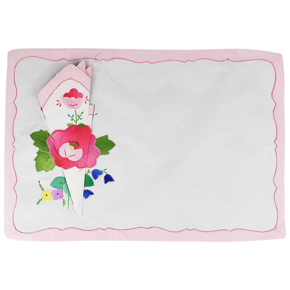 Pink Floral Fabric Placemats and Napkins, Set of 4