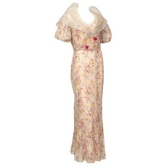 Pink Floral Mermaid Tea Gown and Hollow Glass Button Jacket - Small, 1930s