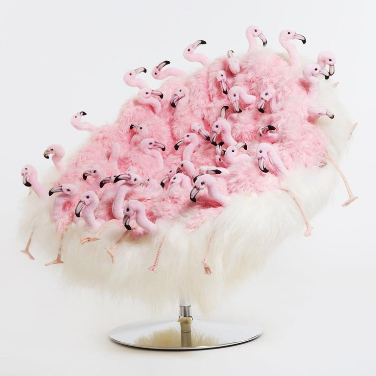Armchair Pink Flament made with floys plush. Minutely handmade plushes piece, handcrafted  details with high quality synthetic fur and white fur.  Exceptional piece, limited edition of 30 pieces.