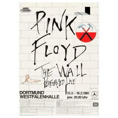 "Pink Floyd ""The Wall"" Original Vintage Tour Poster for Dortmund, Germany, 1981"