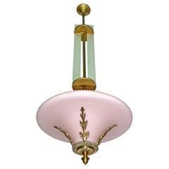 Pink French Art Deco Art Nouveau Bronze Opaline Glass Hanging Chandelier