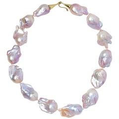 Gabrielle Sanchez Pink Freshwater Baroque Necklace