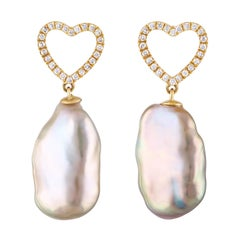 Pink Freshwater Baroque Pearl and Diamond Heart Shaped Earrings