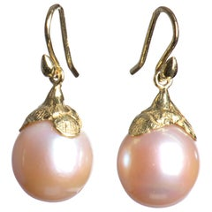 Gabrielle Sanchez Pink Freshwater Pearl 18 Karat Petal Cap Earrings