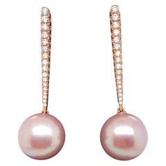 Pink Freshwater Pearl Diamond Drop Earrings 0.43 Carat 18 Karat Rose Gold
