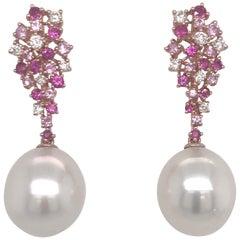 Pink Freshwater Pearl Diamond Sapphire Earrings 1.41 Carat 18 Karat