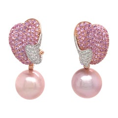 Pink Freshwater Pearl Pink Sapphire Diamond Earrings 5.25 Carat 18 Karat Gold
