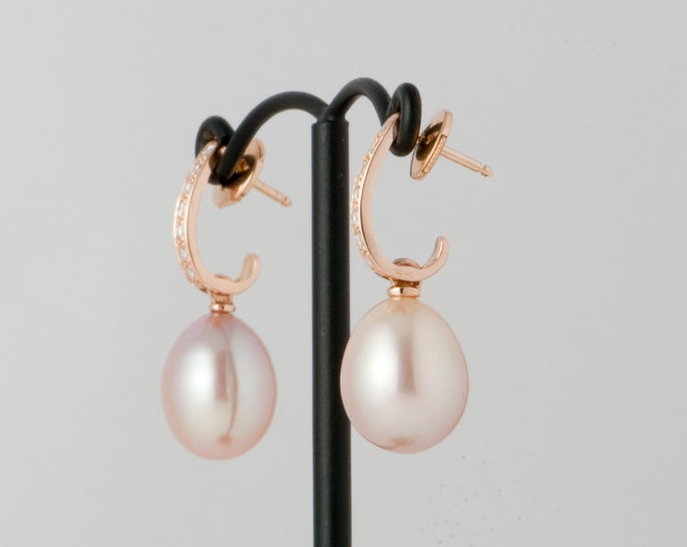Pink Freshwater Pearls and White Diamonds on Pink Gold 18 Karat Drop Earrings For Sale 1