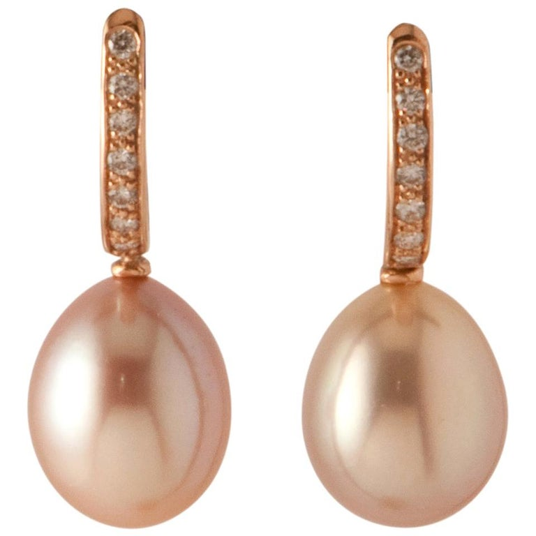Pink Freshwater Pearls and White Diamonds on Pink Gold 18 Karat Drop Earrings For Sale