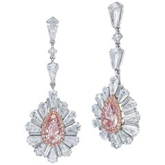 """""""Pink Frost"""" Certified Pink Pear Solitaire Earrings, 8.40 Carat"""