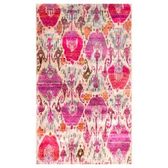 Pink Fuchsia Purple Lilac Oat Silver Beige Ikat Natural Silk Hand Knotted Rug