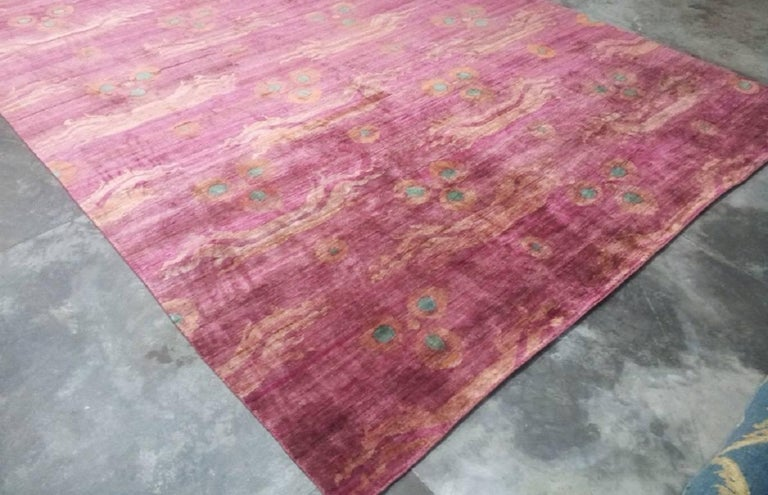 Organic Modern Pink Fuchsia Teal Chinese Design Hand Knotted Soft Natural Silk Ikat Rug For Sale