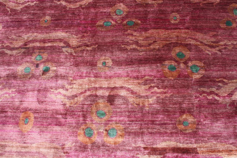 Indian Pink Fuchsia Teal Chinese Design Hand Knotted Soft Natural Silk Ikat Rug For Sale