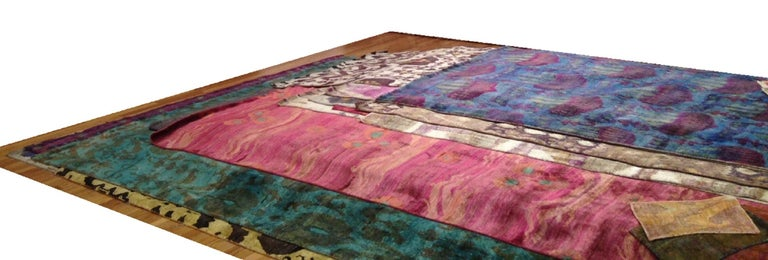 Contemporary Pink Fuchsia Teal Chinese Design Hand Knotted Soft Natural Silk Ikat Rug For Sale