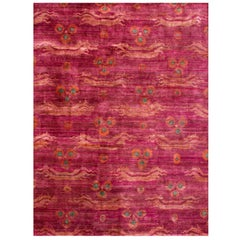 Pink Fuchsia Teal Chinese Design Hand Knotted Soft Natural Silk Ikat Rug