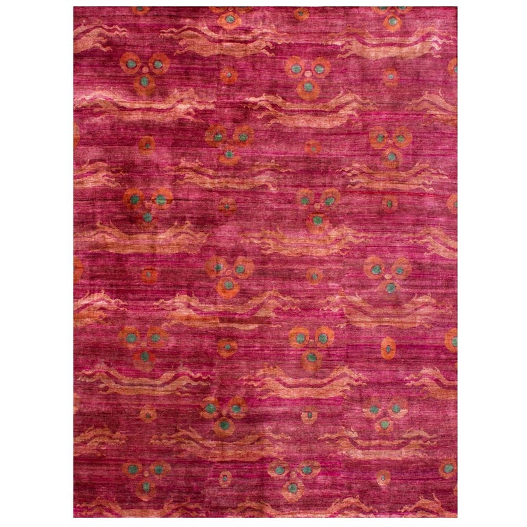 Pink Fuchsia Teal Chinese Design Hand Knotted Soft Natural Silk Ikat Rug For Sale