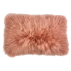 Pink Fur Pillow, Real Cashmere Fur Lumbar