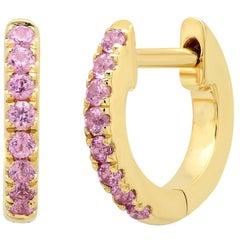 Pink Gemstone Mini Huggie Earrings, Gold, Ben Dannie