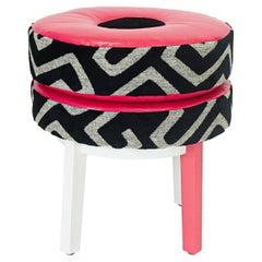 Pink Geometric Print Donut Stool