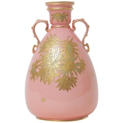 Pink Gilt Encrusted Vase by Royal Crown Derby England, Antique, circa 1900