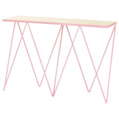 Pink Giraffe Console Table with Natural Birch Plywood Table Top