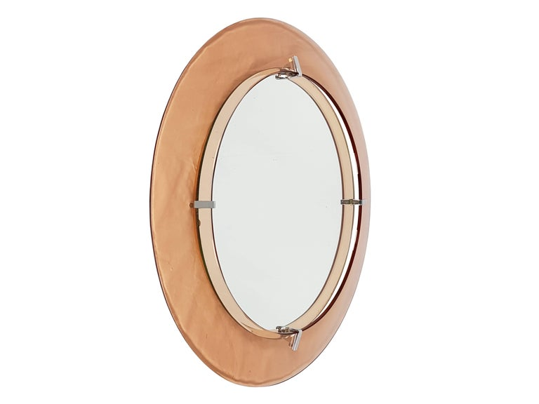 Mid-Century Modern Pink Glass and Chrome Plated Wall Mirror by Cristal Art, circa 1960s For Sale