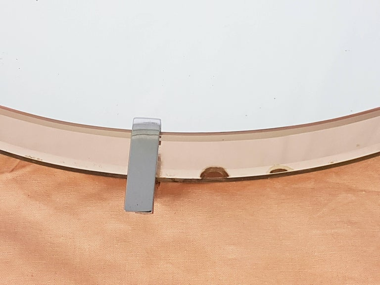 Mid-20th Century Pink Glass and Chrome Plated Wall Mirror by Cristal Art, circa 1960s For Sale