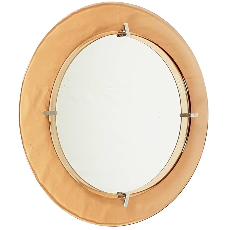 Pink Glass and Chrome Plated Wall Mirror by Cristal Art, circa 1960s For Sale