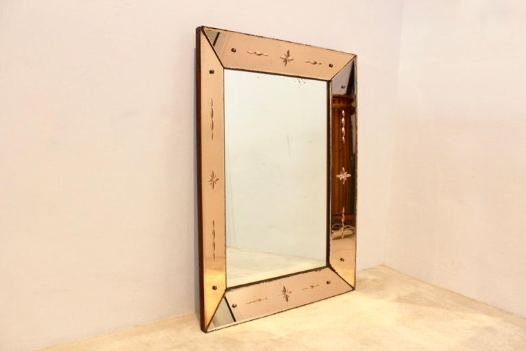 Pink Glow Venetian Mirror, Italy For Sale 3