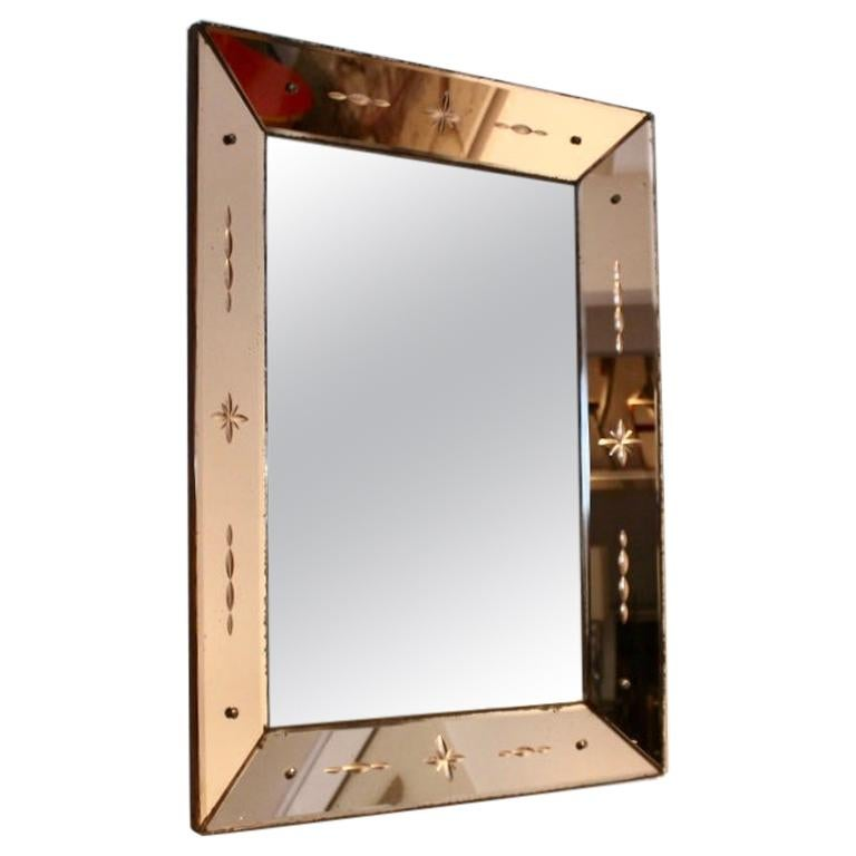 Pink Glow Venetian Mirror, Italy For Sale