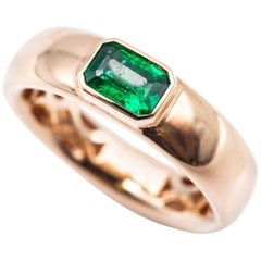 Pink Gold 18 Karat Ring with 0.52 Karat Emerald