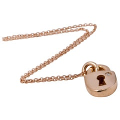 Pink Gold 18 Karat Necklace with Diamond Shape Round Padlock Pendant