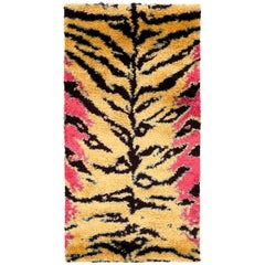 Pink, Gold, and Black Silk Shag Tiger Area Rug