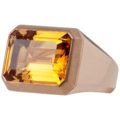 Pink Gold and Citrine Unisex Ring 18 Karat