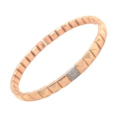Pink Gold and Diamond 0.60 Carat Color G Flexible Bracelet 18K Pyramid Shape